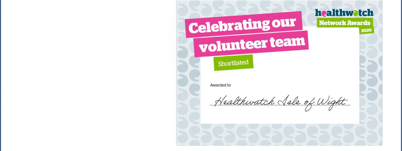 certificate for volunteer award shortlisting